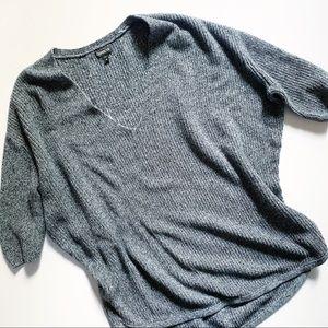Express• medium grey cotton knit half sleeve top